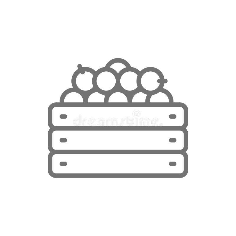 Caixa de madeira com legumes frescos, linha ícone da colheita do jardim ilustração stock