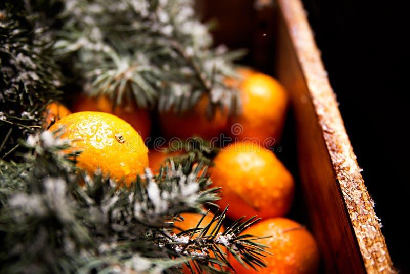Caixa de madeira com tangerinas fotografia de stock