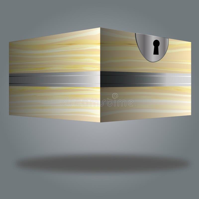 Caixa de madeira 3d, fechado, com buraco da fechadura, mistério, resolução de problemas fotos de stock royalty free