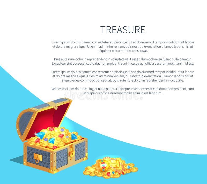 Caixa de madeira do cartaz do tesouro completamente do ouro antigo ilustração do vetor