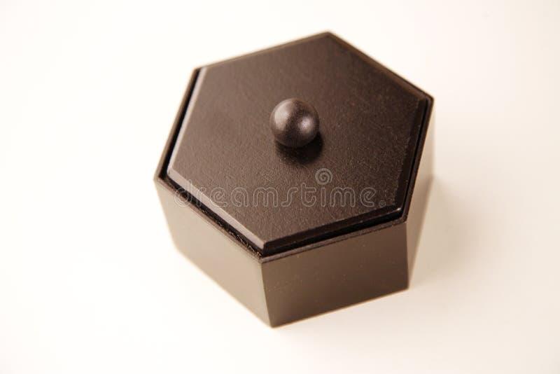 Caixa de madeira do hexágono foto de stock royalty free