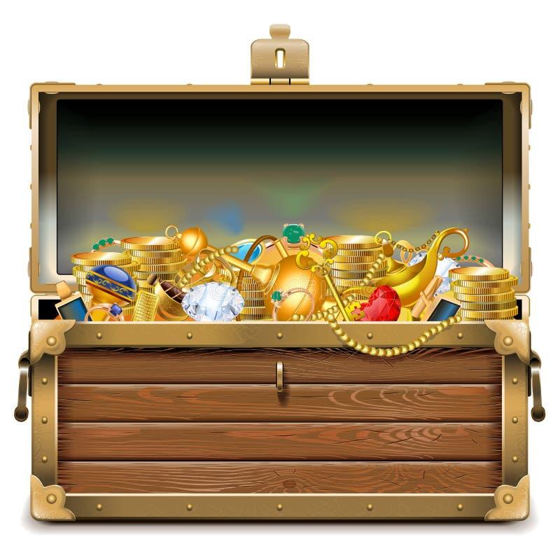 Caixa de madeira do vetor com ouro ilustração stock