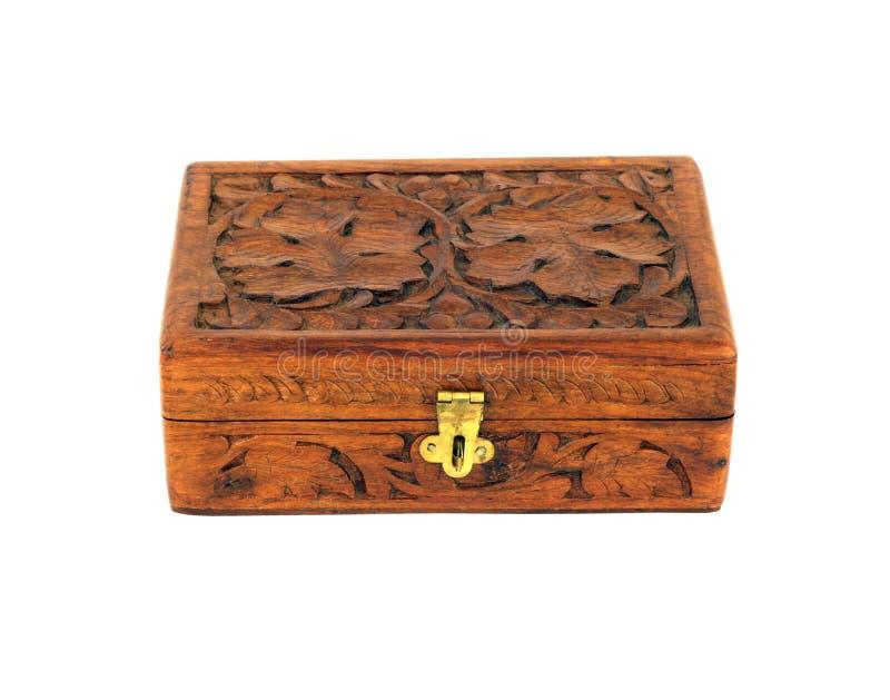 Caixa de madeira gravada fotografia de stock