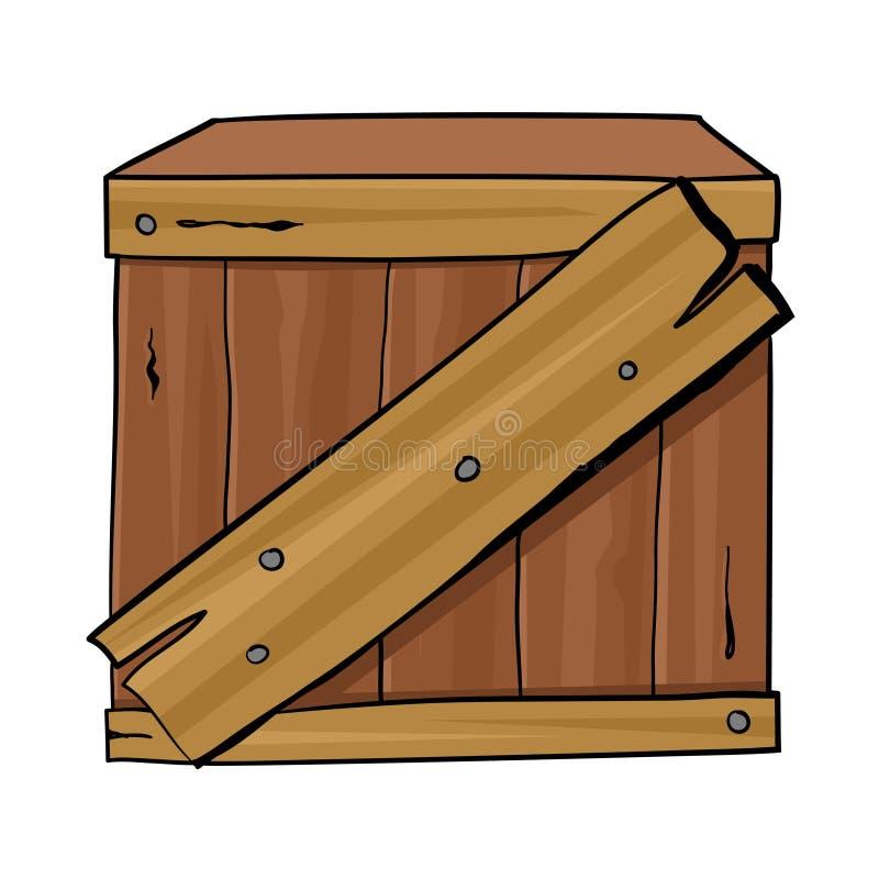Caixa de madeira isolada ilustração royalty free