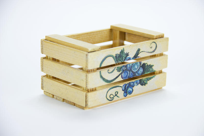 Caixa de madeira isolada Guache da pintura fotos de stock royalty free