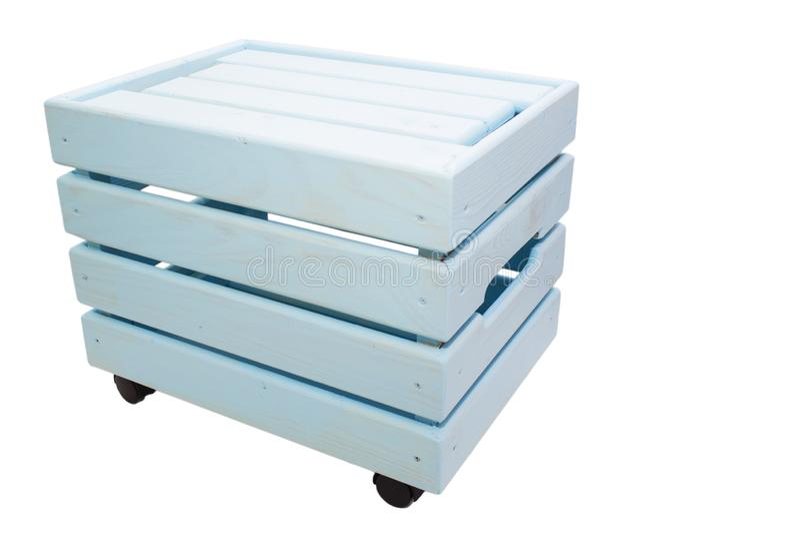 Caixa de madeira, luz - azul, isolado no fundo branco fotografia de stock royalty free