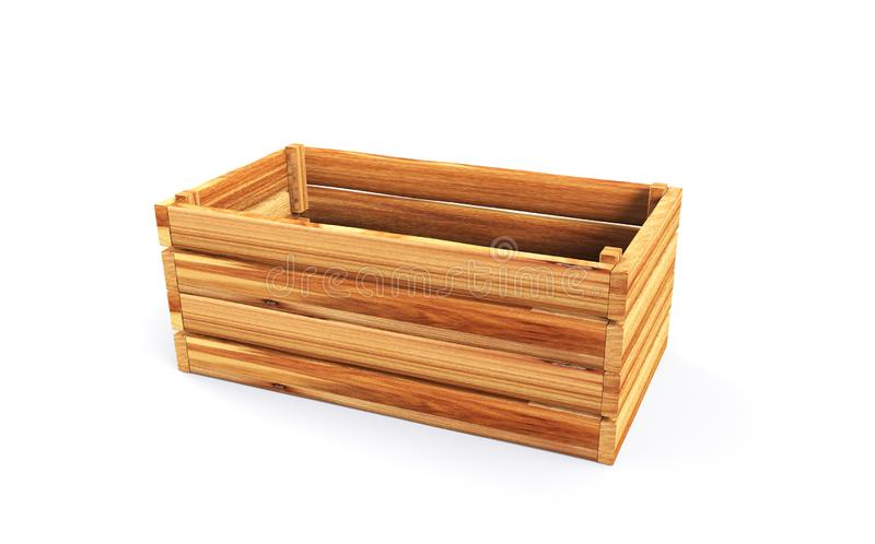 Caixa de madeira para as frutas e legumes 3d para render ilustração do vetor