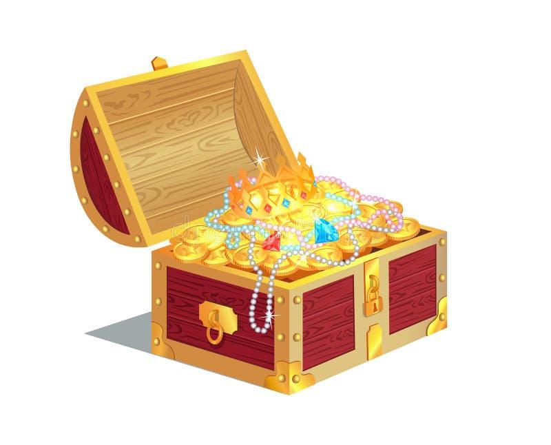 Caixa de madeira pesada completamente de tesouros antigos do ouro ilustração royalty free