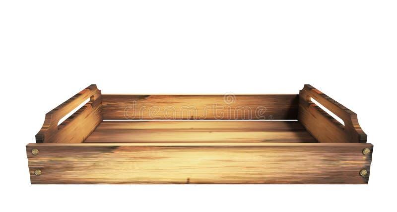 A caixa de madeira vazia 3d do fruto não rende no branco nenhuma sombra ilustração royalty free