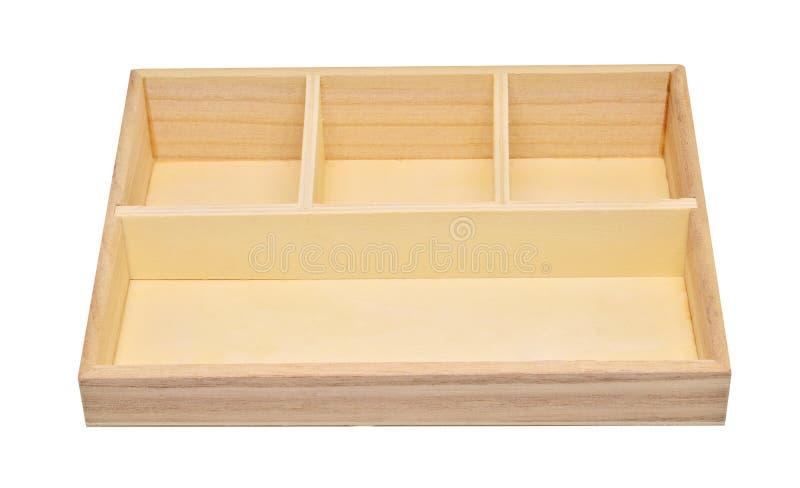 Caixa de madeira vazia da prateleira isolada no trajeto de grampeamento branco do fundo fotos de stock