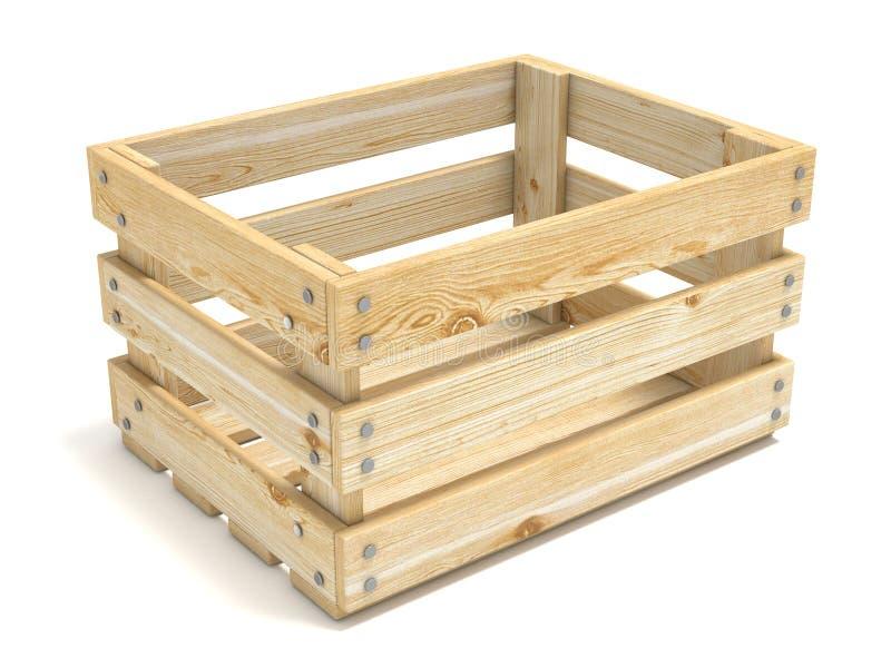 Caixa de madeira vazia Vista lateral 3d ilustração royalty free
