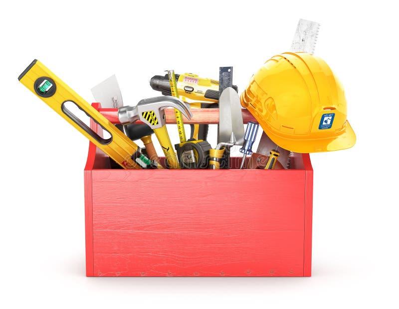Caixa de madeira vermelha completamente das ferramentas ilustração royalty free
