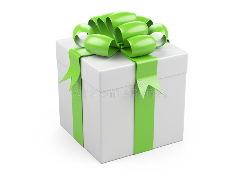Caixa de Natal do presente com curva verde grande ilustração royalty free