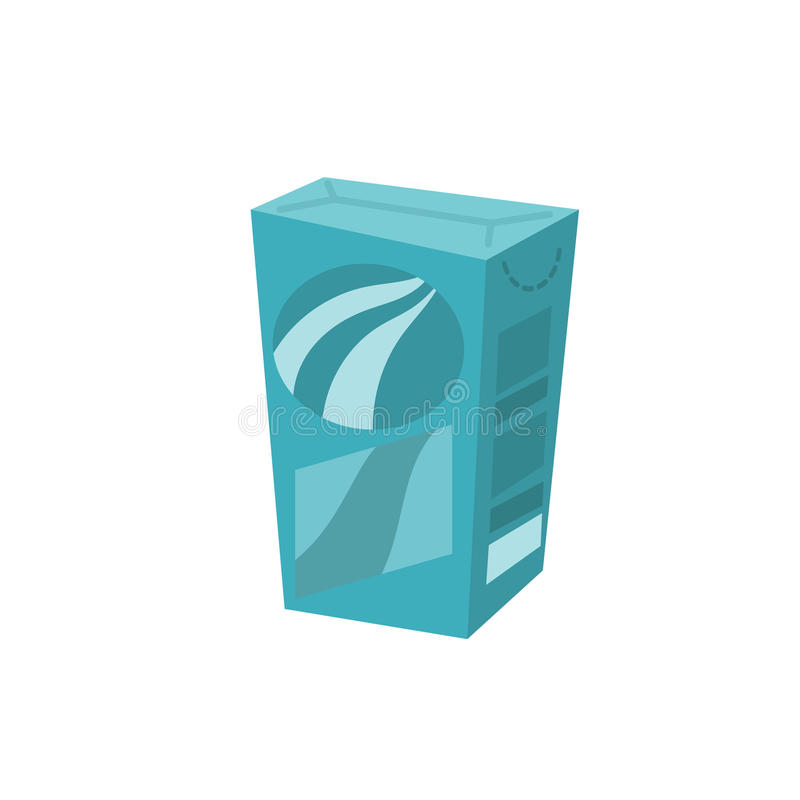 Caixa de papel detergente do estilo na moda dos desenhos animados Recipiente de pó da lavagem isolado no fundo branco ilustração royalty free