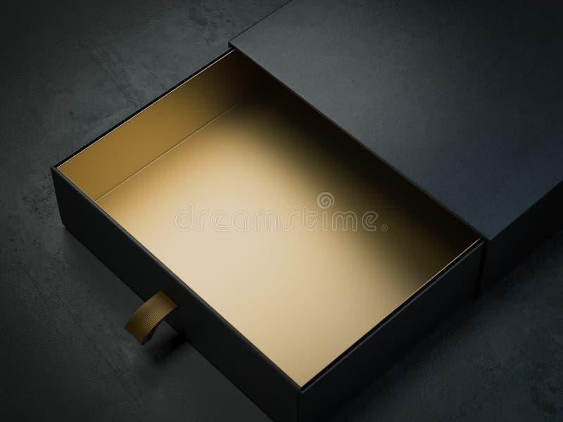 Caixa de papel preta com ouro para dentro rendição 3d ilustração royalty free