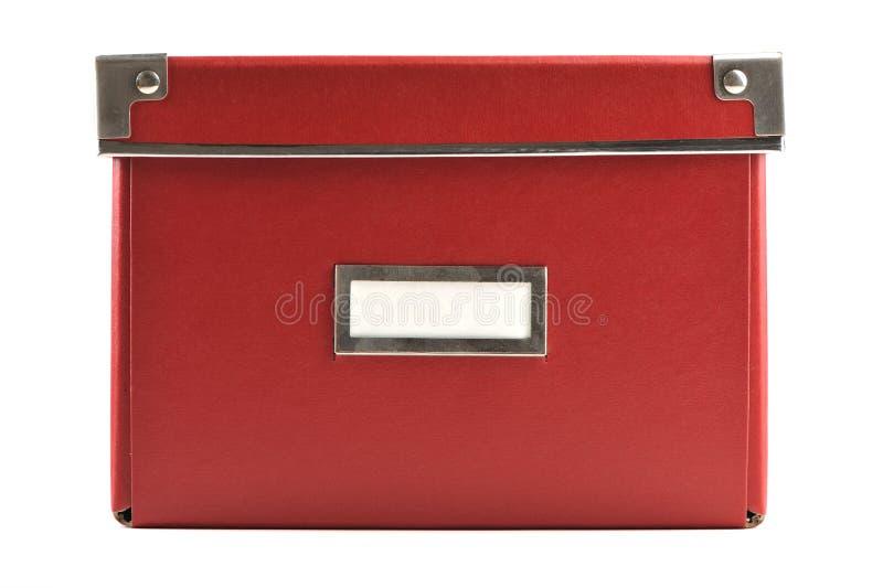 Caixa de papel vermelha com etiqueta branca foto de stock