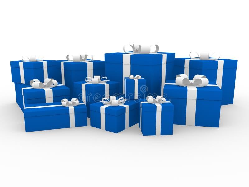 caixa de presente 3d branca azul ilustração do vetor