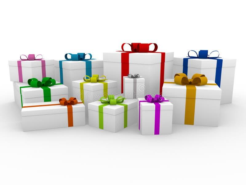 caixa de presente 3d branca colorida ilustração royalty free