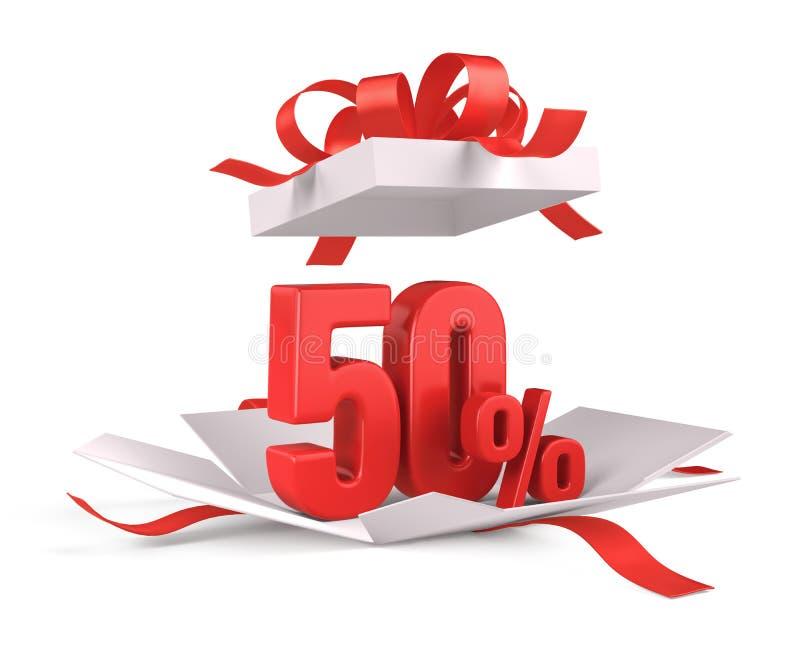 Caixa de presente aberta com um desconto vermelho de 50 por cento no fundo branco - conceito da venda do desconto ilustração do vetor
