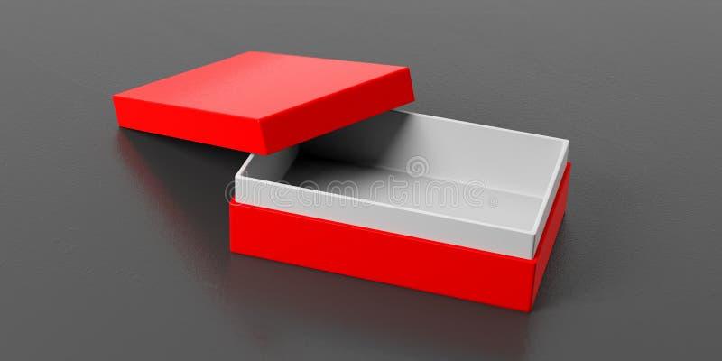 Caixa de presente aberta do vermelho no fundo preto, ilustração 3d ilustração do vetor