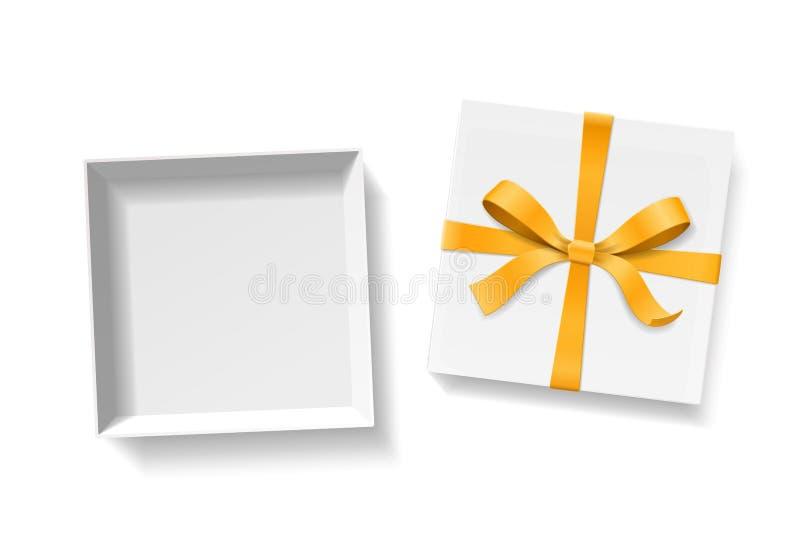 Caixa de presente aberta vazia com nó da curva da cor do ouro e fita isolada no fundo branco ilustração stock
