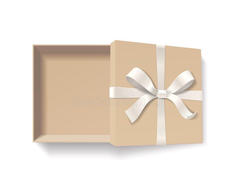 Caixa de presente aberta vazia com nó da curva da cor vermelha e fita isolada no fundo branco ilustração stock
