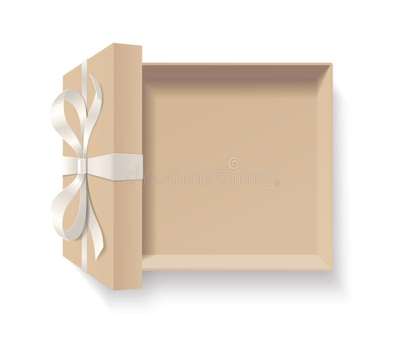 Caixa de presente aberta vazia com nó da curva da cor vermelha e fita isolada no fundo branco ilustração do vetor