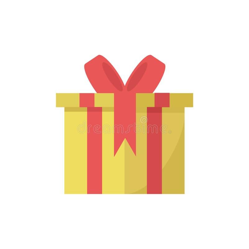 Caixa de presente amarela ilustração stock