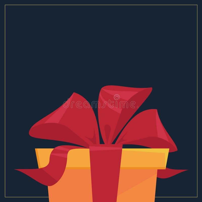Caixa de presente atual com a fita vermelha no fundo escuro - cartão liso do vetor do estilo ilustração royalty free