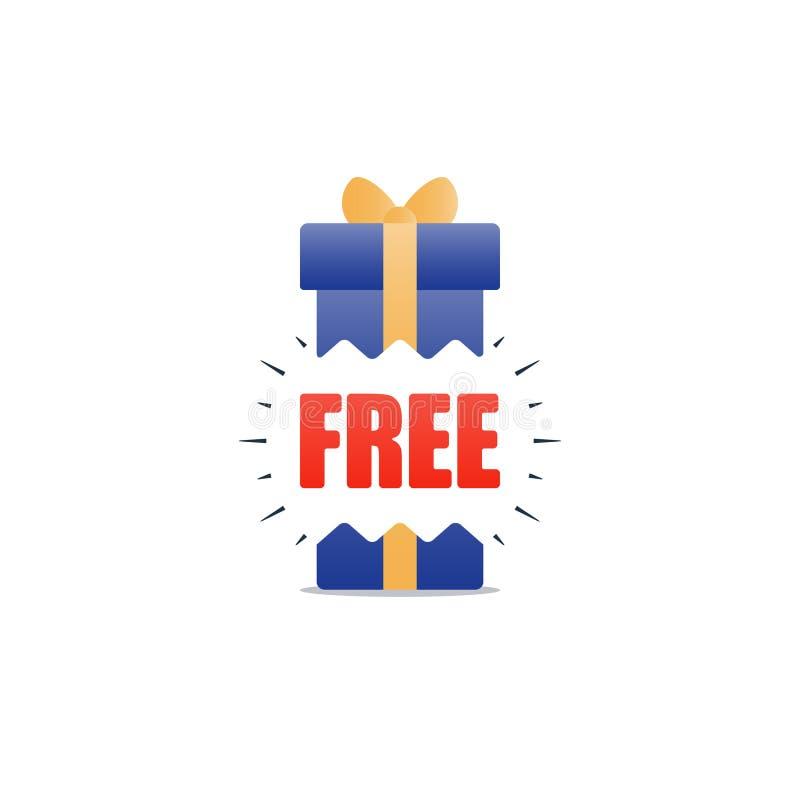 Caixa de presente azul, ícone atual adicional, conceito da recompensa, bônus de compra ilustração royalty free