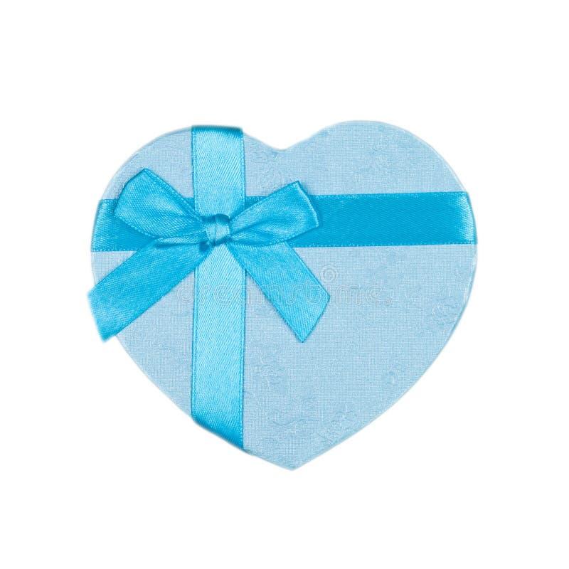 Caixa De Presente Azul Do Coração Com Uma Curva Fotografia de Stock