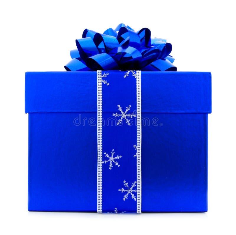 Caixa de presente azul do Natal foto de stock