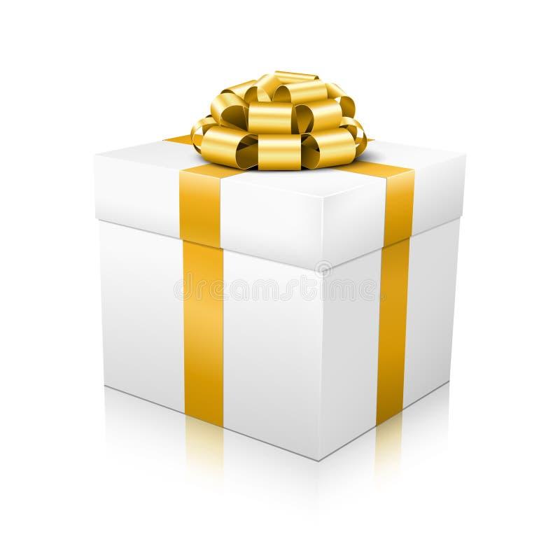 Caixa de presente bonita branca do vetor com o amarrado elegante dourado ilustração royalty free