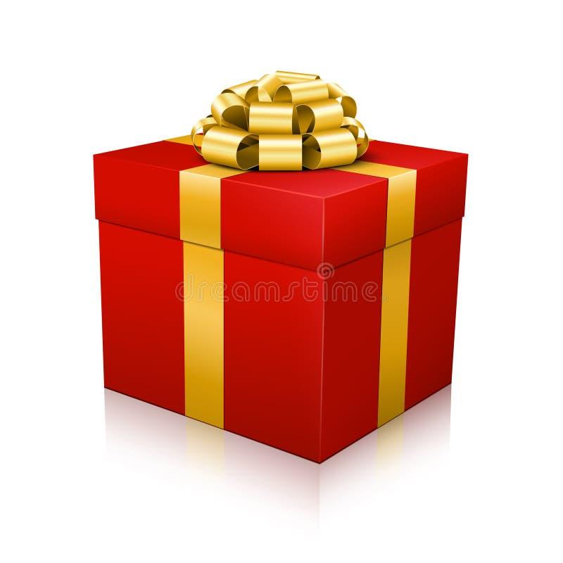 Caixa de presente bonita vermelha do vetor com a fita amarrado elegante dourada no fundo branco ilustração do vetor