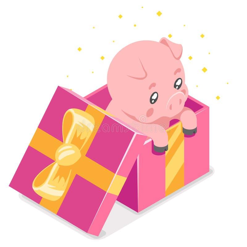 Caixa de presente bonito isométrica do filhote do porco do bebê dos desenhos animados 3d ilustração lisa do vetor de um projeto d ilustração do vetor