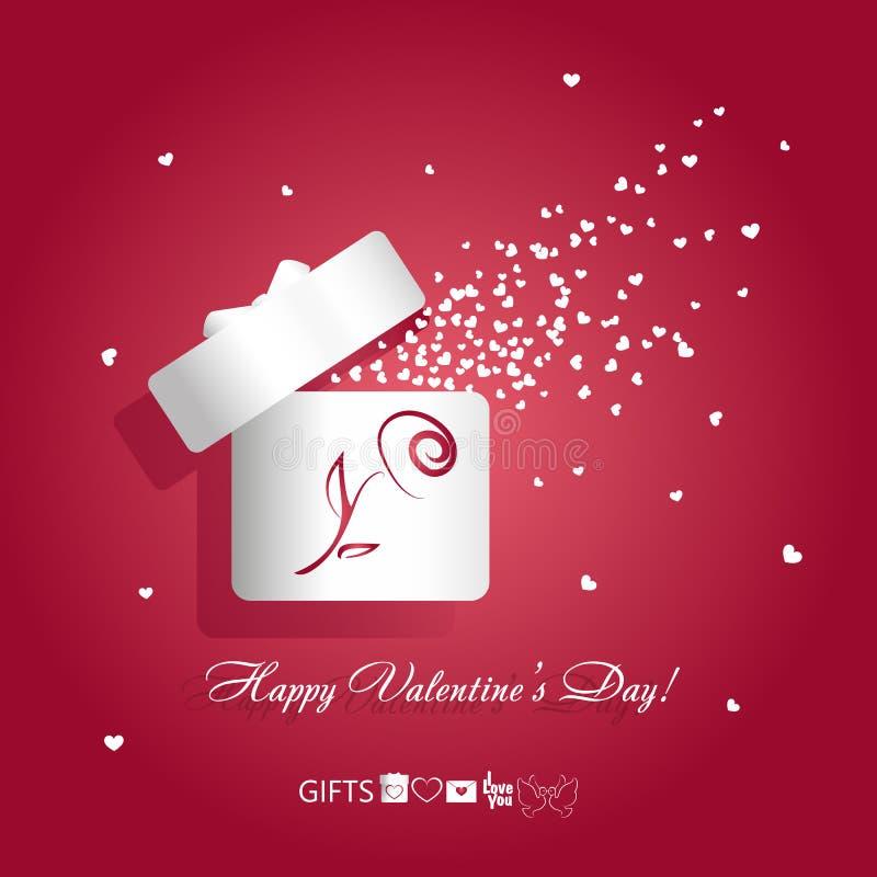 Caixa de presente branca aberta da ilustração do vetor do conceito do dia do ` s do Valentim com a flor cor-de-rosa e corações do ilustração do vetor