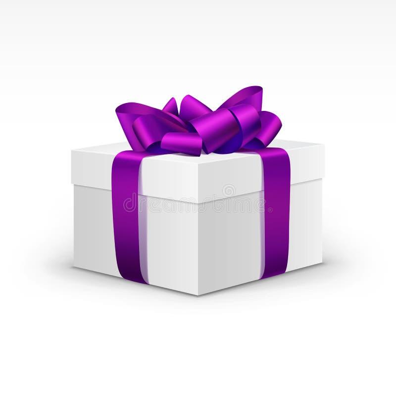 Caixa de presente branca com Violet Ribbon Isolated roxa ilustração stock