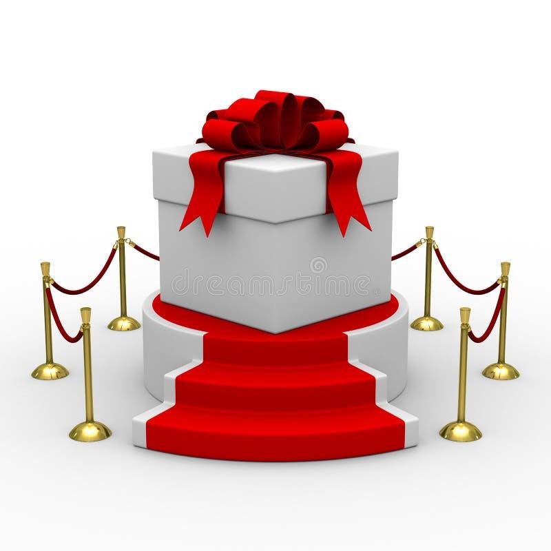 Caixa de presente branca no pódio ilustração royalty free