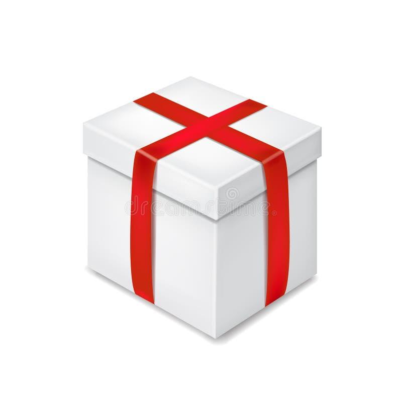 Caixa de presente branca realística com ilustração vermelha do vetor da fita ilustração stock