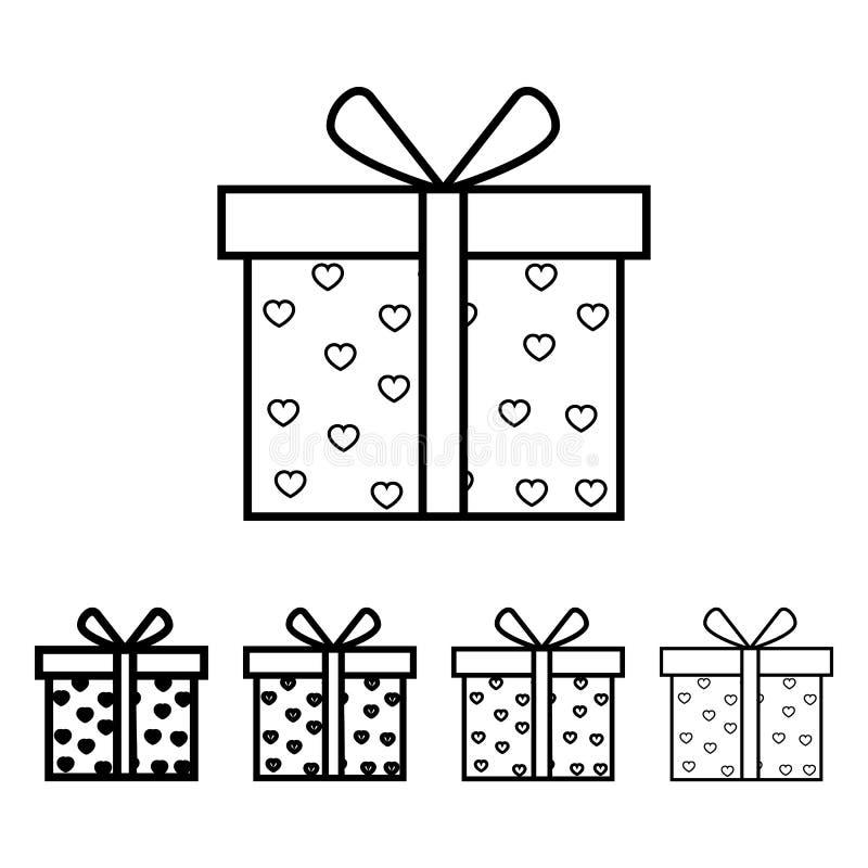 caixa de presente com ícone dos corações no estilo diferente da espessura Um do ícone da coleção do Valentim pode ser usado para  ilustração royalty free