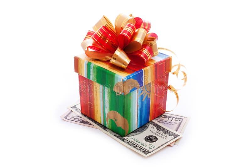 Caixa De Presente Com Contas De Dólar Fotografia de Stock Royalty Free