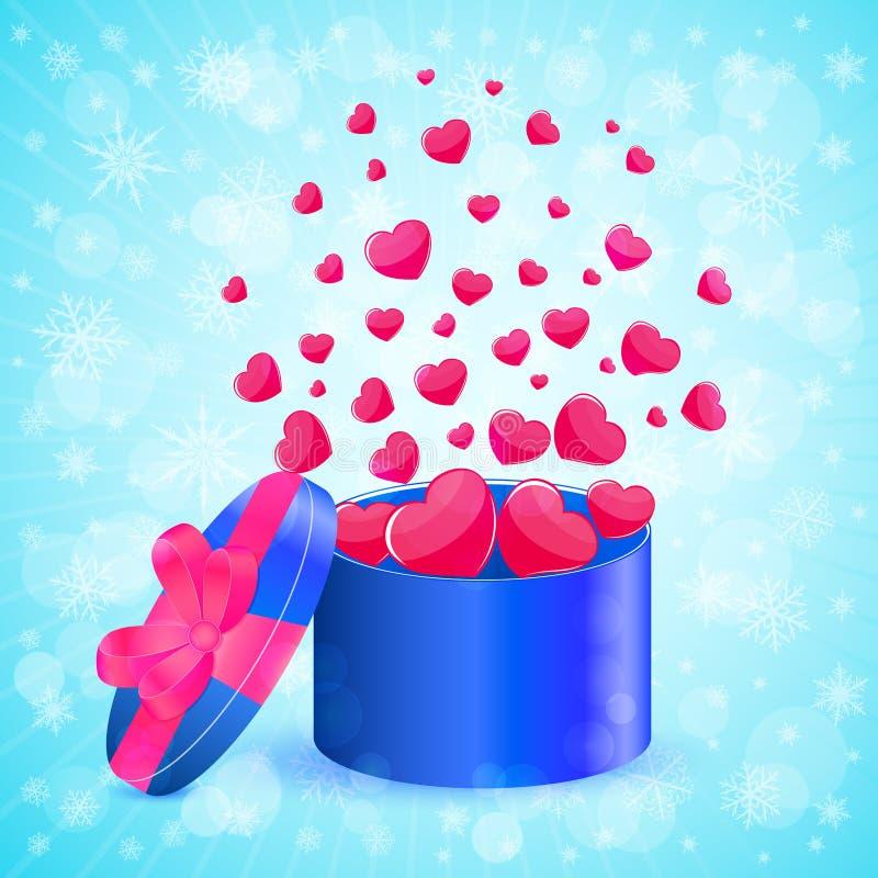 Caixa de presente com corações ilustração stock