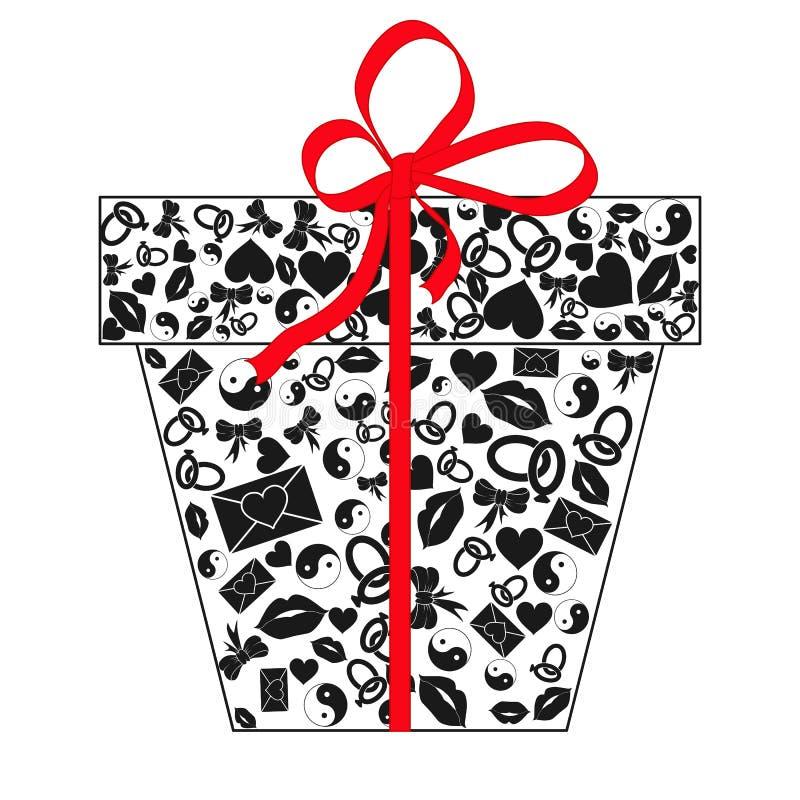 A caixa de presente com a curva feita de corações pretos dos ícones do dia de Valentim, bordos, anéis, envelopes, curvas, Yin Yan ilustração do vetor