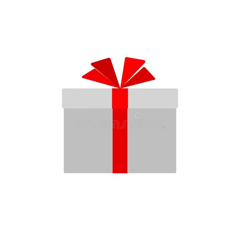 Caixa de presente com a curva vermelha da fita isolada no elemento liso simples do projeto do ícone da caixa de presente do fundo ilustração stock