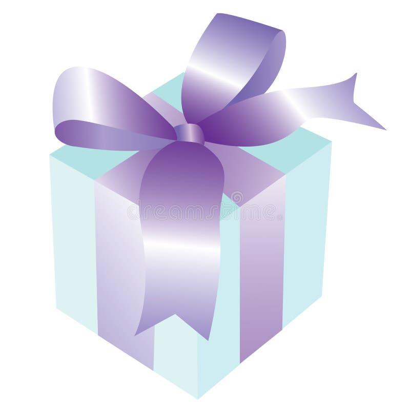 Caixa de presente com fita e curva fotografia de stock royalty free