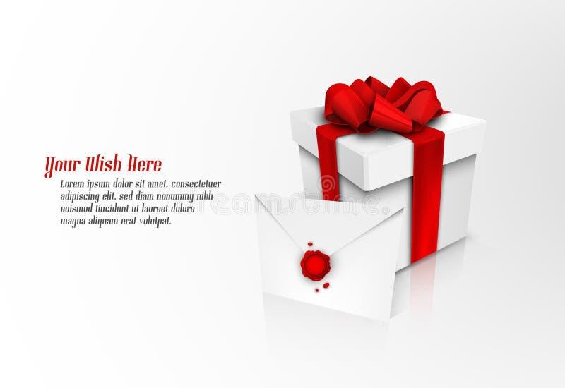 Caixa de presente com fita vermelha e o envelope selado ilustração do vetor