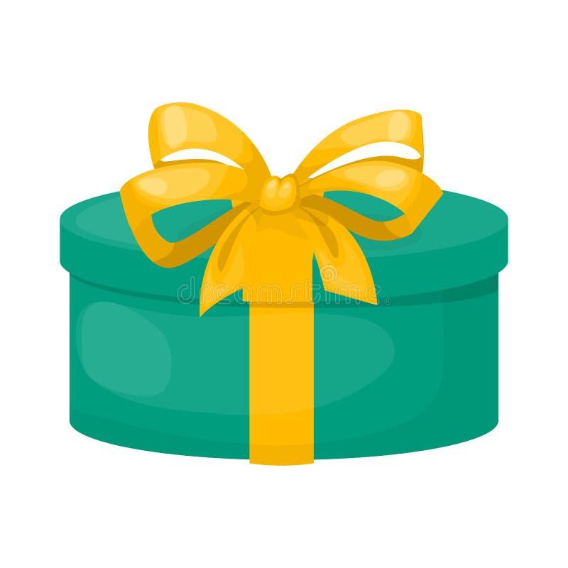 Caixa de presente com ilustração do vetor do pacote da oferta do aniversário do feriado do presente de Natal da fita ilustração do vetor