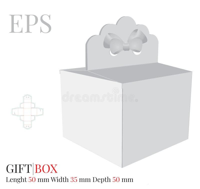 A caixa de presente com molde da curva, vetor com cortado/laser cortou camadas Caixa de bolo da entrega, zombaria branca, vazia d ilustração royalty free