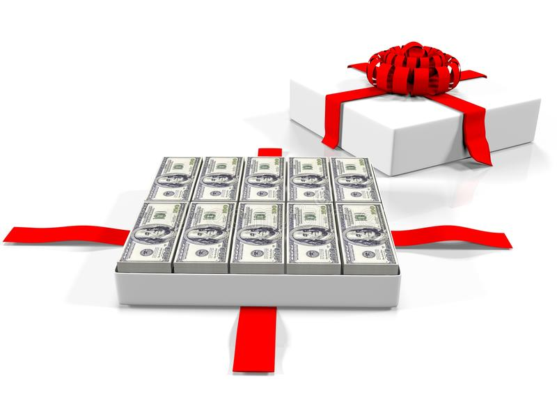 Caixa de presente com a nota de banco do dólar 3d rendem ilustração stock