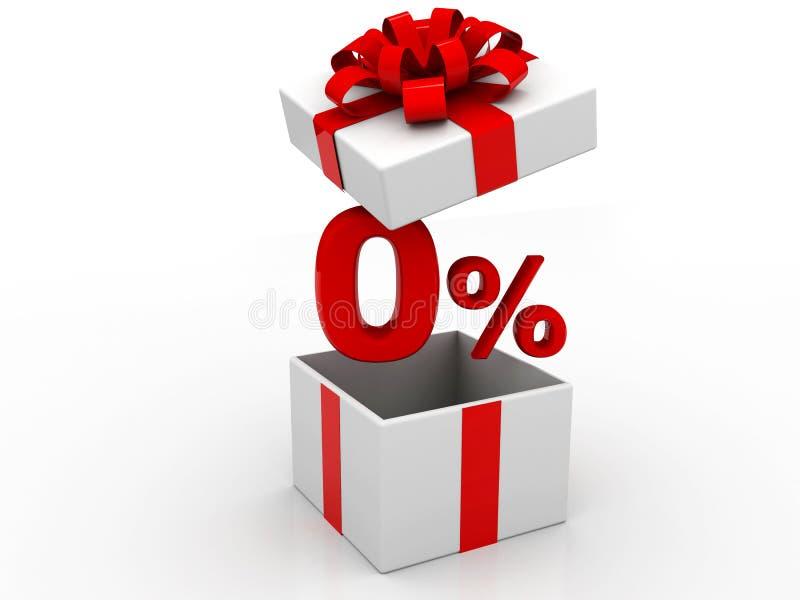 Caixa de presente com 0 por cento no fundo branco 3d rendem ilustração stock